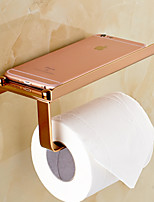 Rose Gold-Plated Finishing Solid Brass Material toilet paper holder bathroom mobile holder toilet paper holder