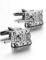 Men's Fashion Tank Style Silver Alloy French Shirt Cufflinks (1-Pair)