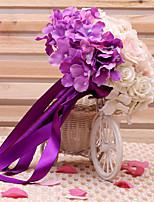 Bouquets de Noiva Redondo / Forma-Livre Rosas / Lírios Buquês Casamento Verde / Roxo Cetim / Seda 9.06