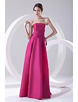 포멀 이브닝 드레스 A-라인 끈없는 스타일 바닥 길이 태피터 와 주름