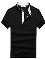 Men's Solid Casual / Plus Sizes T-Shirt,Cotton / Spandex Short Sleeve-Black / Blue / White / Gray