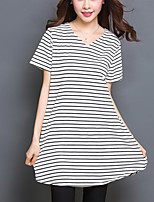 Women's Striped White / Brown Long section T-shirt,Plus Size /Casual V Neck Loose Thin Asymmetrical Cotton/Spandex