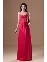 Formal Evening Dress Sheath / Column Straps Floor-length Chiffon with Beading / Side Draping