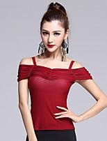 Latin Dance Dress Women's Performance Rayon / Spandex / Tulle Pleated 1 Piece Black / Burgundy Colors