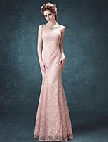 Formal Evening Dress Trumpet / Mermaid Scoop Floor-length Lace with Crystal Detailing