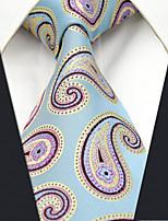 Men's100% Silk  Tie Blue Paisley Fashion