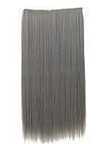 26 Inch Clip in Synthetic Gray Color Straight Hair Extensions with 5 Clips