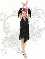 Latin Dance Children's Performance V Neck Spandex Sequins / Tassel(s) Dresses