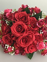 Wedding Flowers Free-form Roses Bouquets Wedding / Party/ Evening Red Satin 9.84