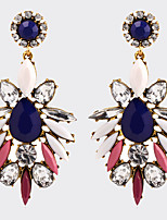 Women's Fashion Vintage Bohemian Zircon Crystal Flower Long Earrings Oorbellen Jewelry Colorful Rhinestones Water Drop Earrings Boucle d'oreille Femme