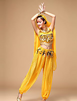 Belly Dance Women's Performance Chiffon Sequins Top/Pants Outfits with Earrings Dance Costumes