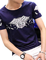 Men's Korean Cotton Round-Neck Slim Wings Printing Short Sleeve T-Shirt