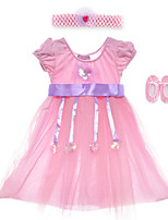 Performance Dresses Children's Performance Spandex / Polyester Sash/Ribbon / Sequins 2 Pieces Pink Performance Sleeveless HighDress /