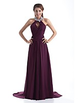 Formal Evening Dress A-line Halter Sweep / Brush Train Chiffon with Beading / Crystal Detailing / Pleats