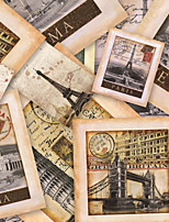 JAMMORY Art Deco Wallpaper Retro Wall Covering,Canvas Large Mural  World Architecture Photo Wall