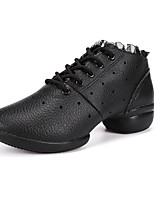 Non Customizable Women's Dance Shoes Leather Leather Dance Sneakers Split Sole Chunky Heel Practice / Outdoor / Performance Black / White