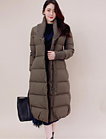 Women's Solid Black / Green Padded Coat,Simple Asymmetrical Long Sleeve