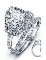 Luxurious Engagement Classic Square Diamond 925 Sterling Silver Wedding Rings Set