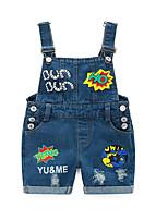 2016 New Arrival Boys & Girls Summer Solid Denim Jumpsuits Kids Hemming Overalls Children Brand Jeans Pants