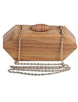 L.WEST Women's Handmade Pure Wooden Evening Bag