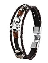 de haute qualité pu super cuir brillant zinc multi-couche bracelet crâne alliage squelette hommes