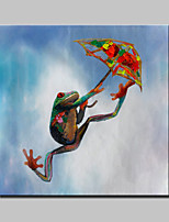Lager Hand Painted Modern Abstract Parachute Frogs Animal Oil Painting On Canvas Wall Art Picture Whit Frame 100x100cm