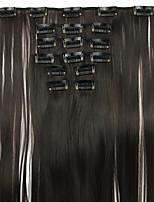 peluca negro Longitud 62cm extensión del pelo sintético de alambre de alta temperatura recta