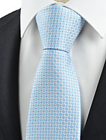 KissTies Men's Necktie Light Blue Check Wedding/Business/Work/Formal/Casual Tie With Gift Box