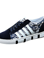 Men's Flats Spring / Summer / Fall / Winter Comfort PU / Fabric Casual Flat Heel Lace-up Black / Blue / Red Walking