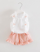 Girl's Pink / Gray Clothing Set,Print Cotton / Linen Summer