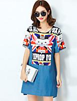Women's Cute / Street chic Animal Print Plus Size / Loose Dress,Round Neck Mini
