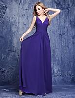 Floor-length Chiffon Bridesmaid Dress A-line V-neck with Beading