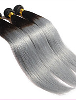 HOT Sale 3Pcs Lot Silver Grey Ombre Human Hair Extensions 1B Grey Straight Hair Ombre Brazilian Virgin Hair Grey Weave
