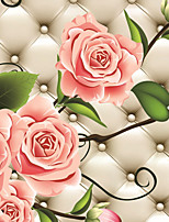 JAMMORY 3D Wallpaper Luxury Wall Covering,Canvas Large Mural  Leather Grain Rose