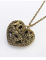 Korean Jewelry Retro Hollow Carved Bronze Wild Peach Heart Long Pendant Necklace