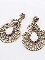 2016 New Fashion Vintage Silver Long Ethnic Bohemian Earrings For Women Flowers Crystal Drop Earrings