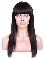 8A unprocessed remy human hair 8-26inches Yaki Straight with Bang full or lace front wigs for African American Women