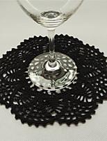 Retro Round Unique Black Cotton Tablemat Doilies With Flowers Coaster Placemats Vintage Wedding Decoration