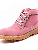 Women's Shoes Suede Flat Heel Motorcycle Boots / Combat Boots Boots Outdoor / Athletic / Casual Yellow / Pink