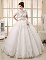 Princess Wedding Dress Floor-length Jewel Tulle with Beading