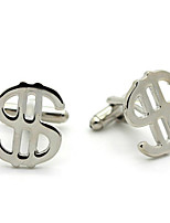 Toonykelly® Fashion Copper Silver Plated US Dollars Logo Button Cufflinks(1 Pair)