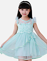 Girl's Casual/Daily Patchwork Dress,Cotton / Polyester Summer / Spring Blue / Pink