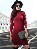 VERRAGEE® Women's Stand Long Sleeve Above Knee Dress-L62