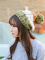 Women Leisure Warm Sweet Stitching Color Wool Knit Cap Winter