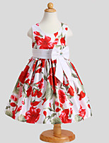 Girl's Pink / Red Dress,Floral Polyester Summer / Spring