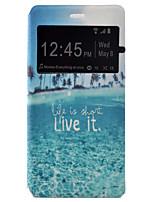 Para Capinha Huawei / P9 / P9 Lite com Visor / Flip Capinha Corpo Inteiro Capinha Cenário Rígida Couro PU HuaweiHuawei P9 / Huawei P9
