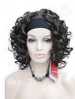 New Fashion Brown 3/4 Wig With Headband Women's Short  Curly Synthetic Half Wig