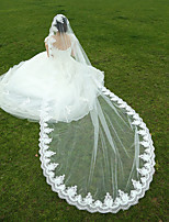 Wedding Veil One-tier Fingertip Veils / Cathedral Veils Lace Applique Edge