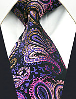 Men's 100% Silk  Tie Purple Paisley  Business Necktie