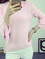 Women's Solid Blue / Pink / White / Black / Yellow Pullover,Street chic ¾ Sleeve
